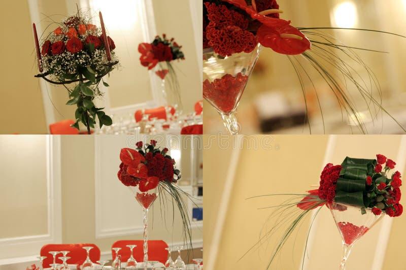 De rode rozen in huwelijksbalzaal, multicam, net, het scherm verdelen in vier delen stock foto's