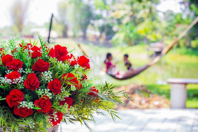 De rode rozen worden gemaakt van potas in de tuin royalty-vrije stock afbeelding