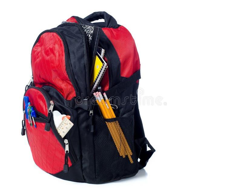 De rode Rugzak van de School stock afbeelding