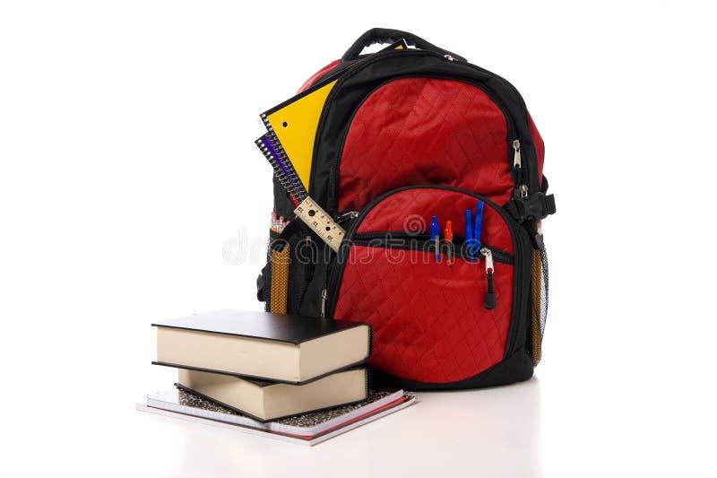 De rode Rugzak van de School met Boeken