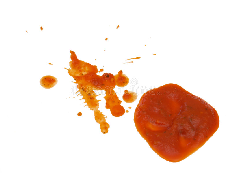 De rode saus knoeit stock fotografie