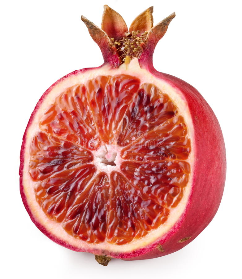 De rode sinaasappel sneed rijpe granaatappel. royalty-vrije stock foto's