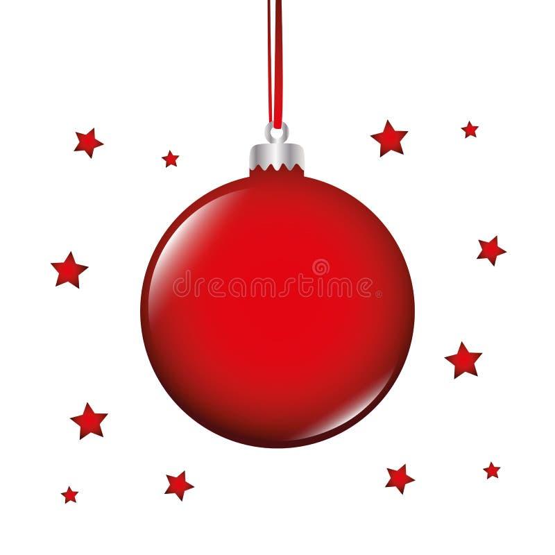 De de rode snuisterij en sterren van de Kerstmisboom op witte achtergrond vector illustratie