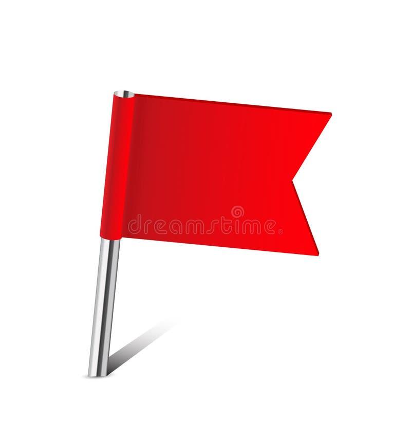 De rode speld van de vlagkaart stock foto's