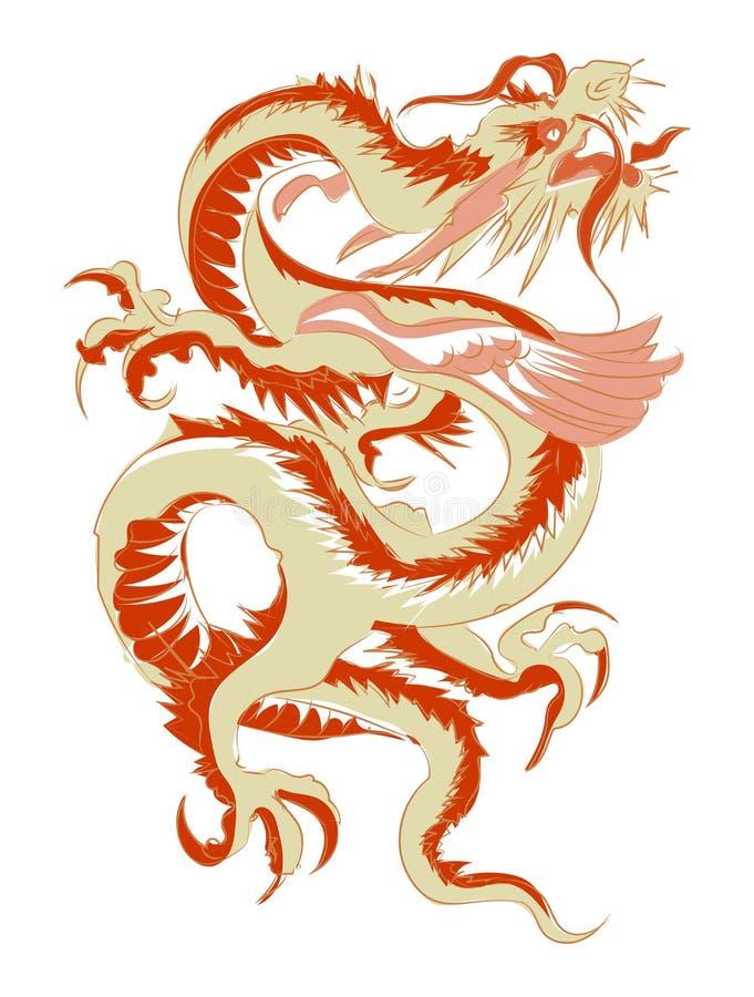 De rode stammen Chinese vectorillustratie van de draaktatoegering stock illustratie
