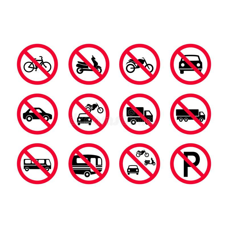 De rode tekens van verbodsvoertuigen Geen gemotoriseerde voertuigen, geen fietsen, geen auto's Vrachtwagens, bussen, kampeerautob stock illustratie