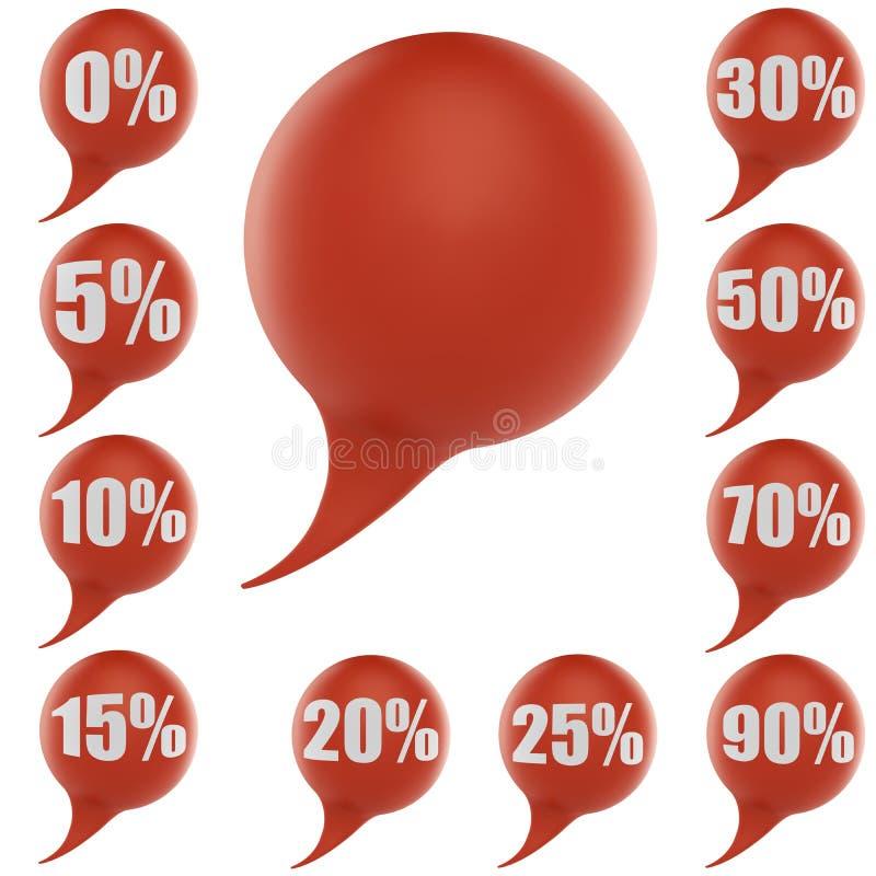De rode toespraak borrelt kortingsmarkeringen stock illustratie