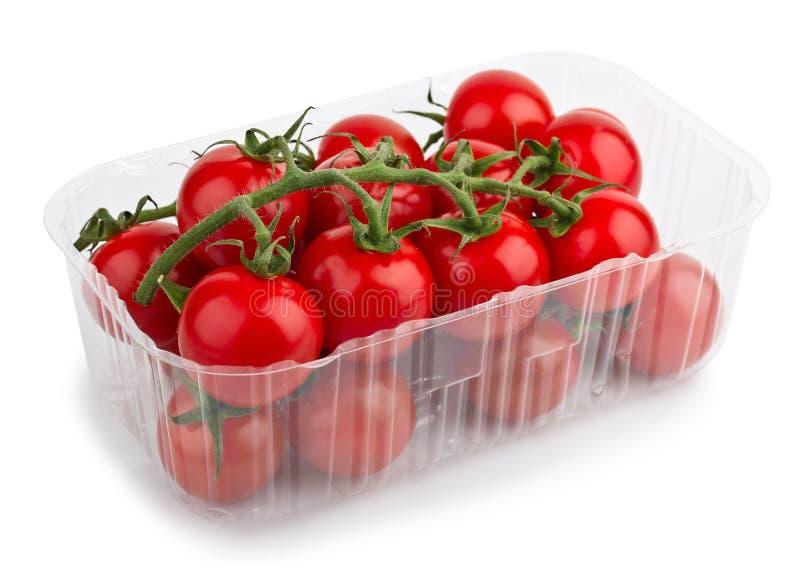 De rode Tomaten van de Kers in Plastic dienblad stock afbeelding