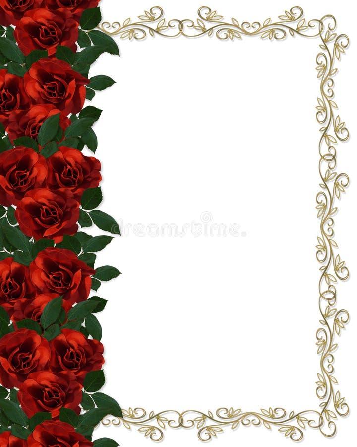 De rode uitnodiging van het Huwelijk van de Grens van Rozen royalty-vrije illustratie