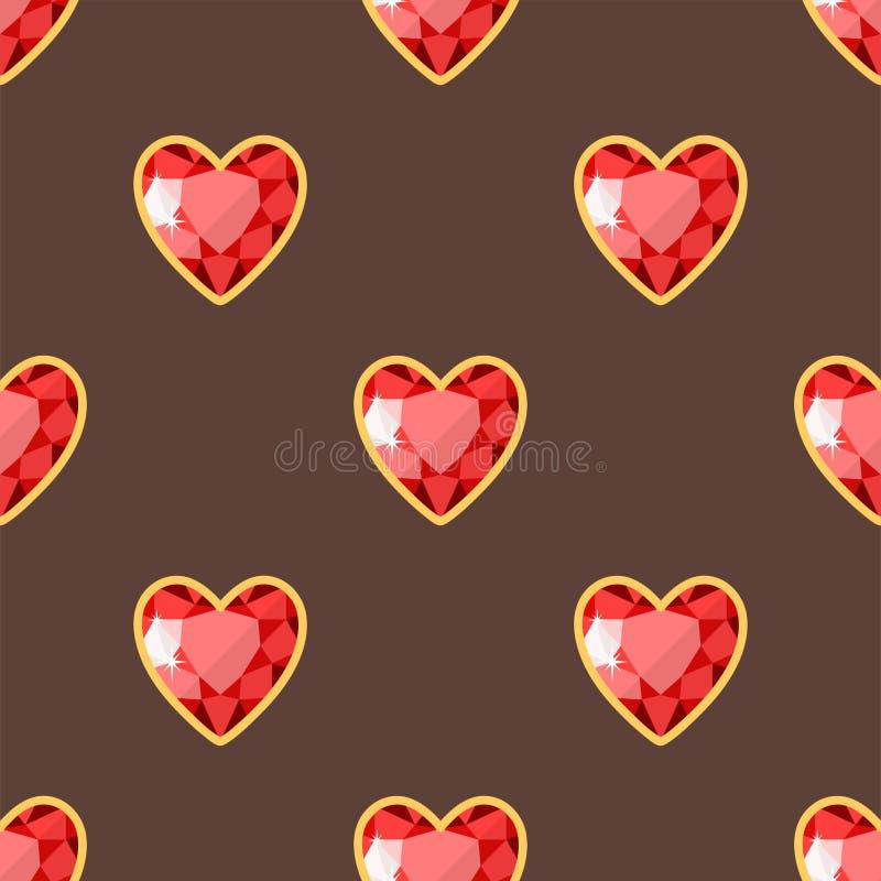 De rode van de het patroondiamant van hart gouden juwelen naadloze van de luxe fijne minieme kostbare gouden juwelen vectorillust vector illustratie