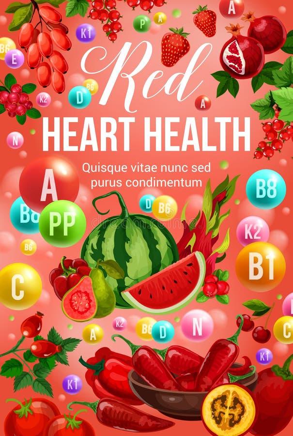 De rode van het dieetvoedsel en hart vitaminen van de gezondheidsvoeding vector illustratie
