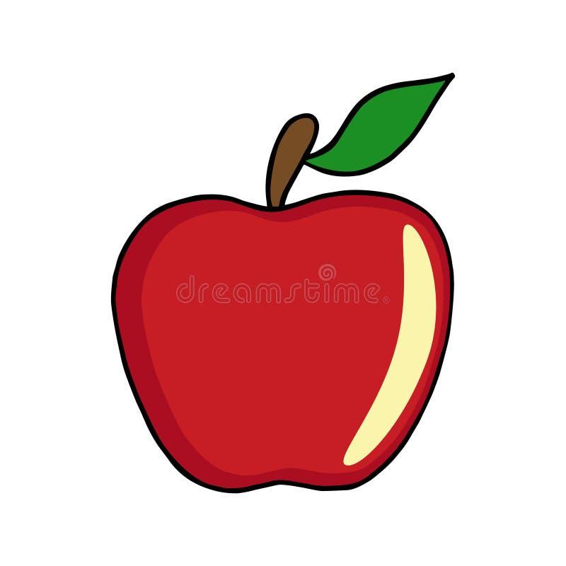 De rode vector van de appelillustratie op witte achtergrond royalty-vrije stock afbeeldingen
