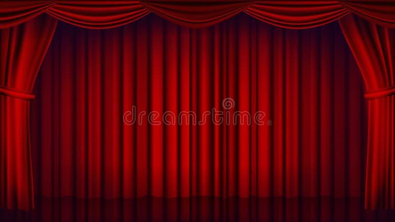 De rode Vector van het Theatergordijn Theater, Opera of Bioskoop Gesloten Scène Het realistische Rood drapeert Illustratie vector illustratie