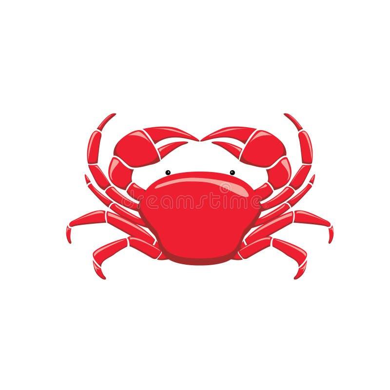 De rode Vectorillustratie van het Krab Schone Beeldverhaal stock illustratie