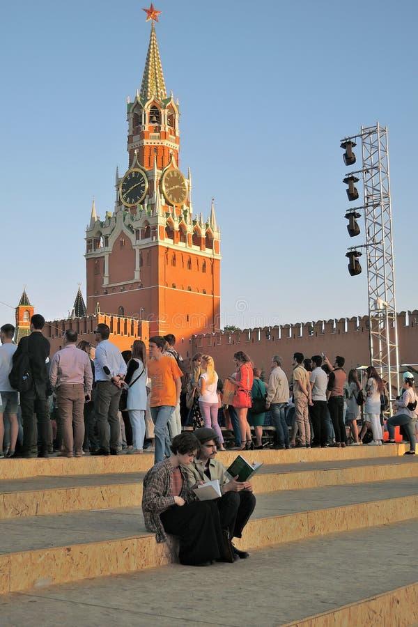De Rode Vierkante Boekenbeurs in Moskou stock foto's