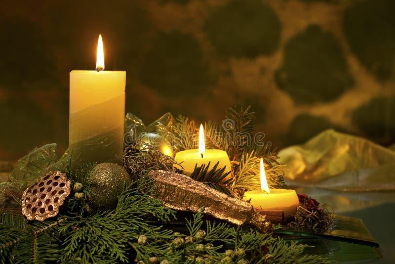 De rode Vlam van Kerstmis van Kaarsen royalty-vrije stock foto