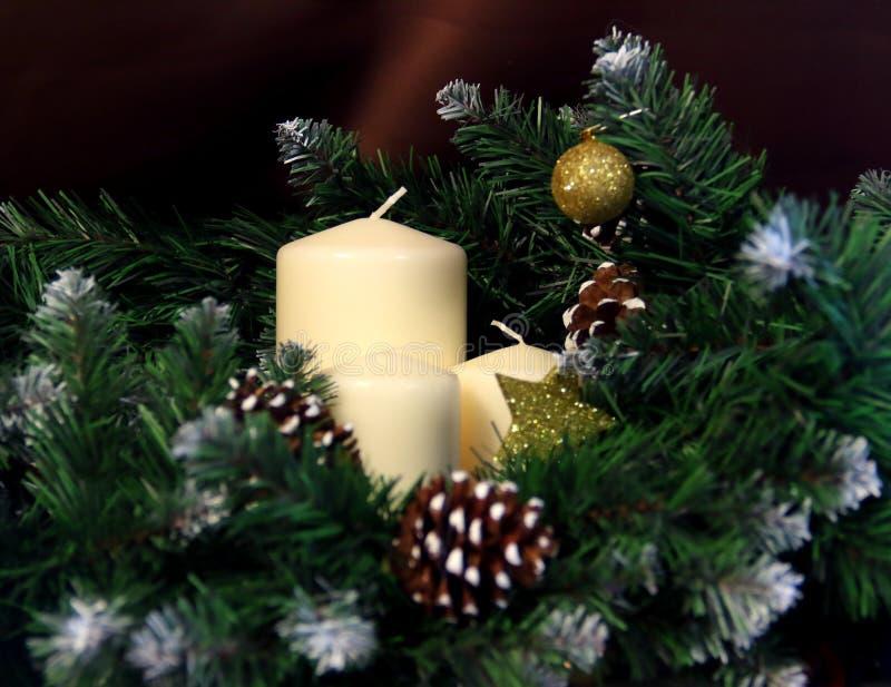 De rode Vlam van Kerstmis van Kaarsen royalty-vrije stock afbeelding