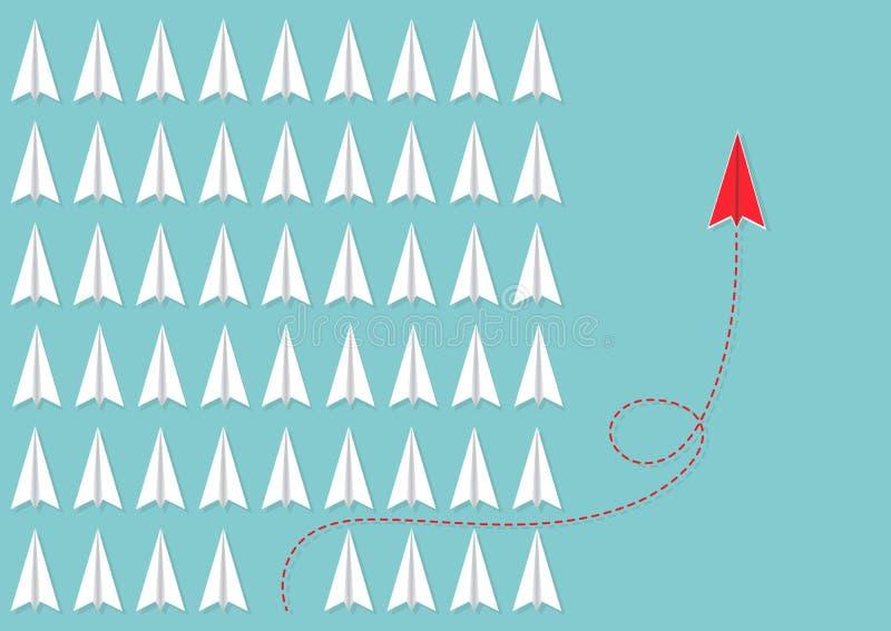 De rode vliegtuig veranderende richting verschillend van witte vliegtuigen, bedrijfsinnovatieleiding denkt verschillend nieuw ide royalty-vrije illustratie