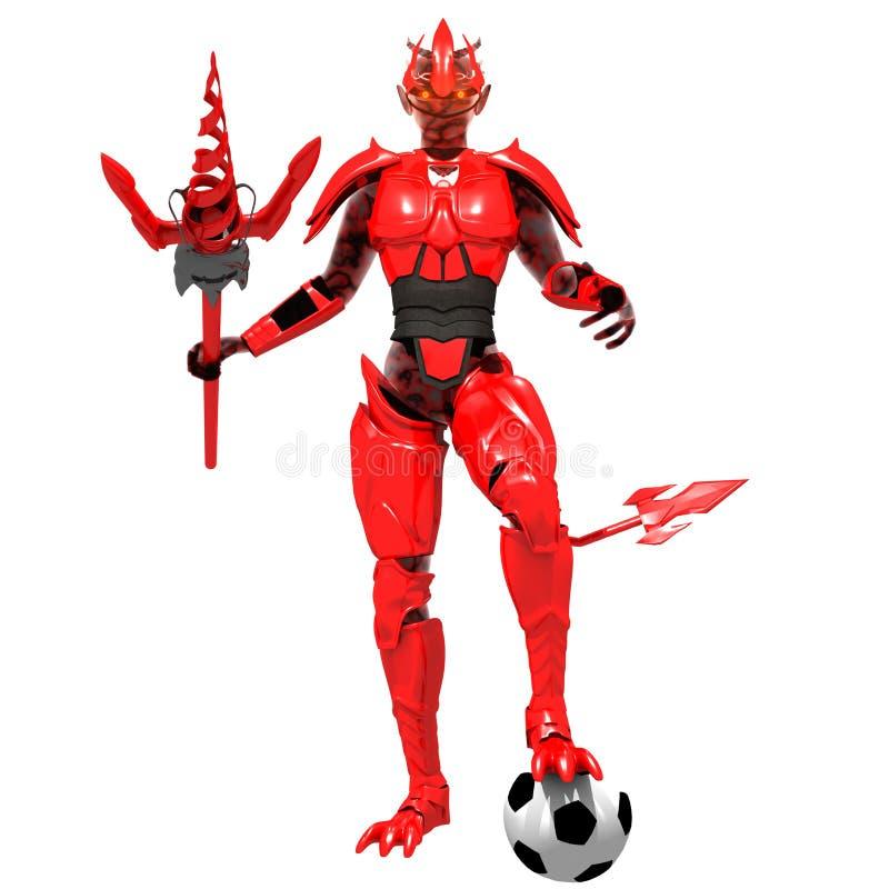 De rode voetbal van het duivelsspel royalty-vrije stock afbeelding