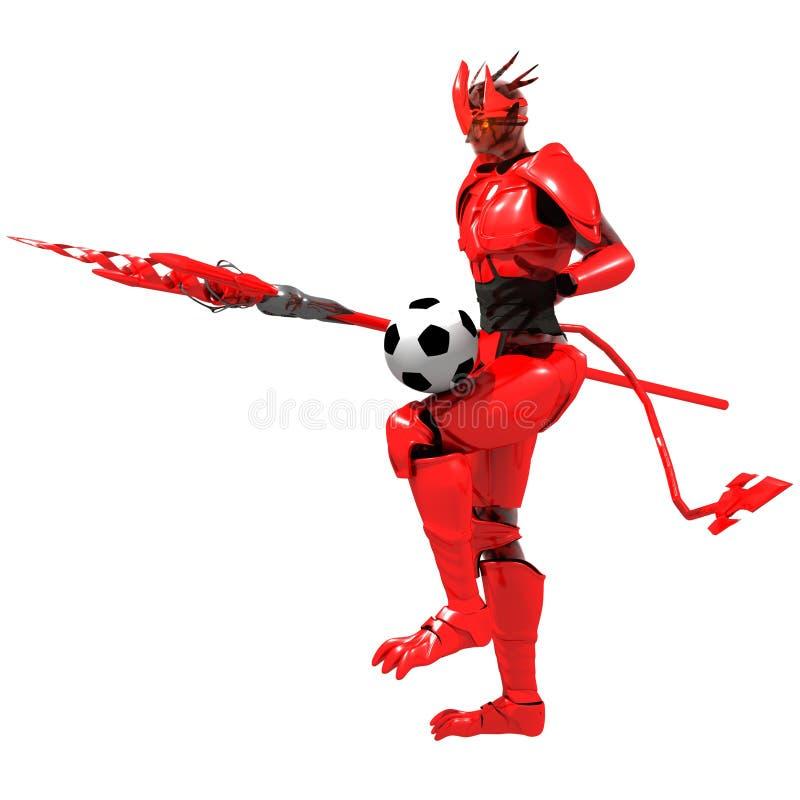 De rode voetbal van het duivelsspel royalty-vrije stock fotografie