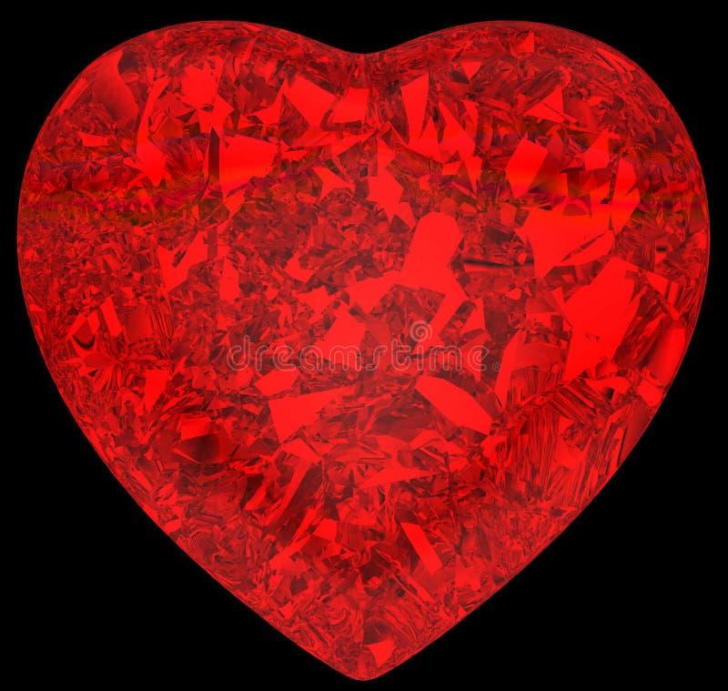 De rode vorm van het diamanthart op zwarte royalty-vrije stock foto's