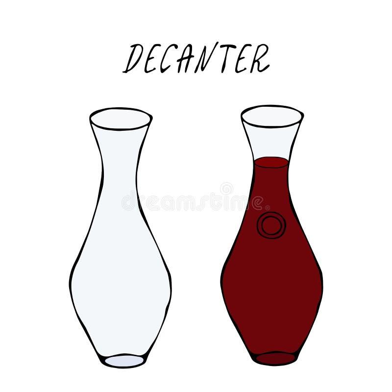 De Rode Wijn van de alcoholdrank in een Karaf Barinzameling Realistische Hand Getrokken Hoogte - kwaliteits Vectorillustratie De  stock illustratie