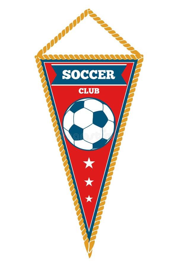 De rode wimpel van het driehoeksvoetbal isoleerde wit stock illustratie