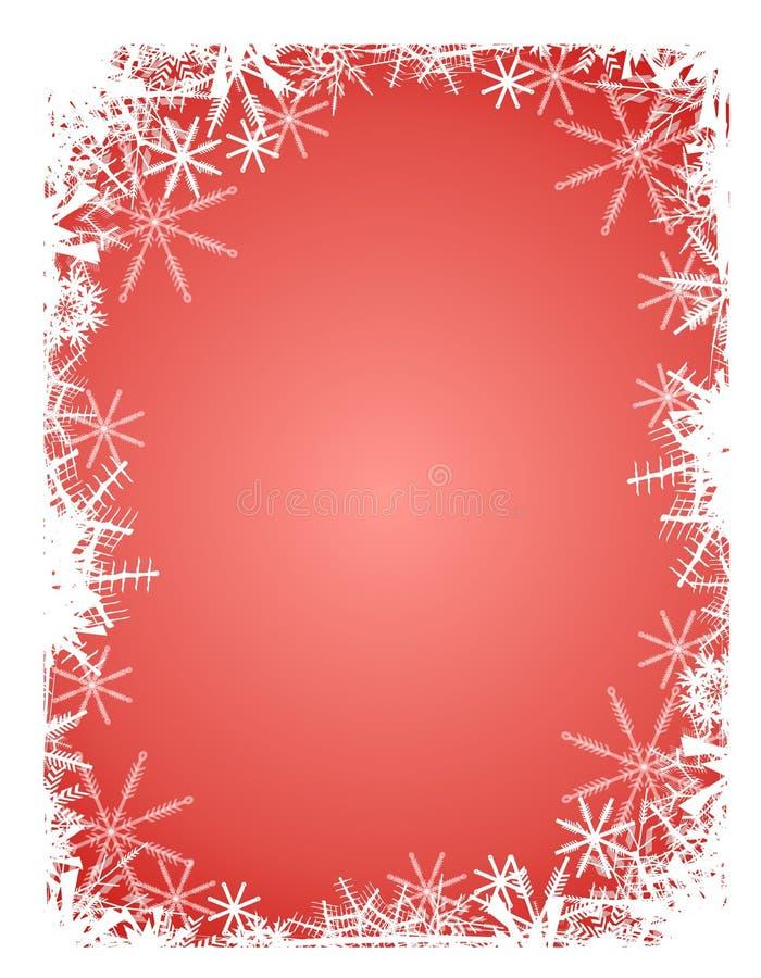 De rode Witte Achtergrond van de Sneeuwvlok royalty-vrije illustratie