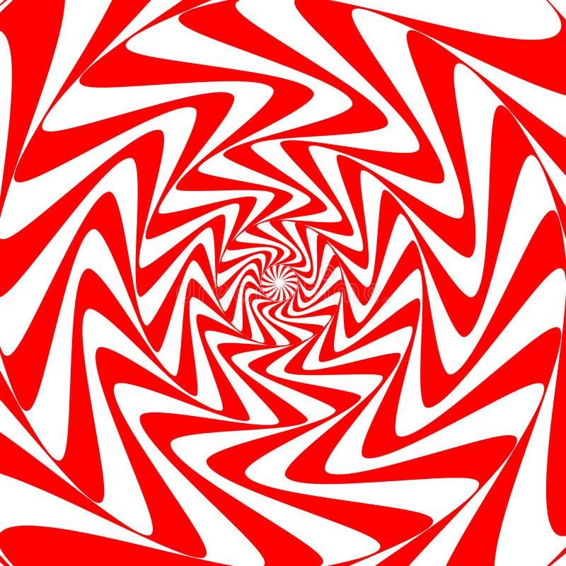 De rode witte achtergrond van de wervelings abstracte draaikolk Psychedelisch behang royalty-vrije illustratie