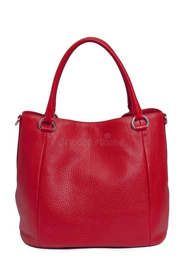 De rode zak van de leervrouw stock fotografie