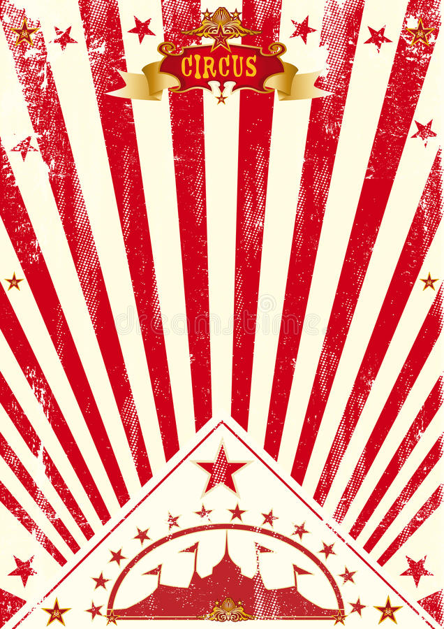 De rode zonnestralen van de circusaffiche royalty-vrije illustratie