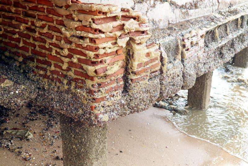 de roest en de erosie van bakstenen muur die op strand voortbouwen waren schade door s royalty-vrije stock afbeelding