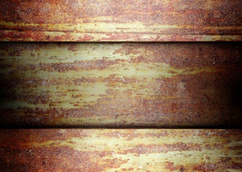 De roestige achtergrond van het metaalmalplaatje grunge stock illustratie
