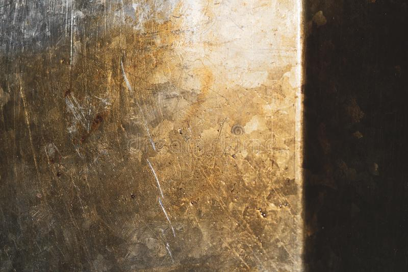 De roestige achtergrond van de metaaltextuur de oude textuur van de ijzerplaat Staalmuur stock afbeelding