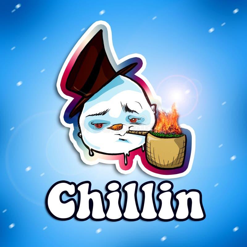 De rokende Ijzige Sneeuwman van het Onkruid vector illustratie