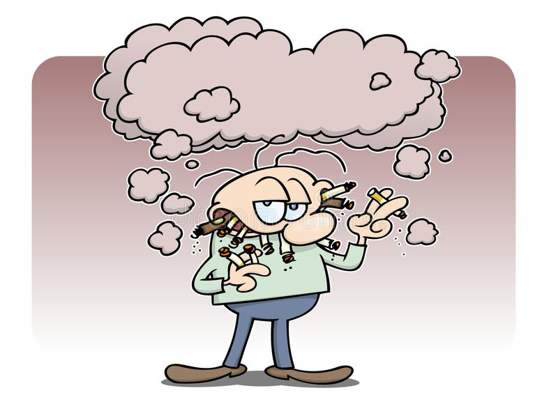De rokende mens van de ketting royalty-vrije illustratie