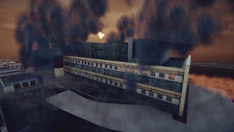 De rokende schoorstenen van de installatie en de abstracte fabriek in dikke smog, ecologisch problemen en luchtvervuilingsconcept vector illustratie