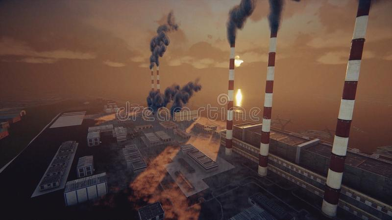 De rokende schoorstenen van de installatie en de abstracte fabriek in dikke smog, ecologisch problemen en luchtvervuilingsconcept stock illustratie