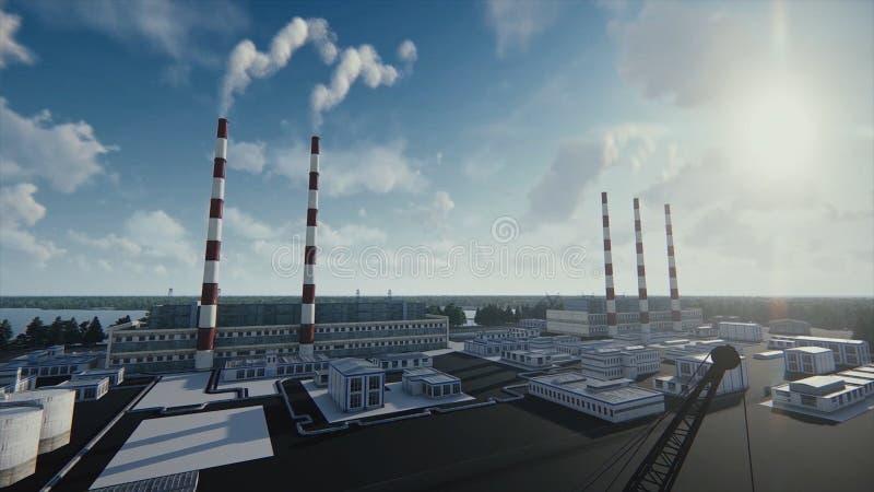 De rokende schoorstenen van de installatie en de abstracte moderne fabriek in een zonnige dag, ecologische problemen en een lucht vector illustratie
