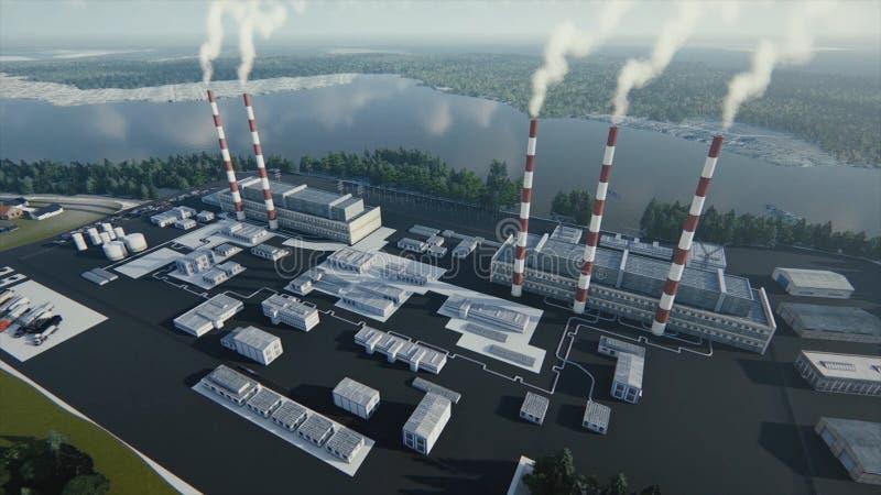 De rokende schoorstenen van de installatie en de abstracte moderne fabriek in een zonnige dag, ecologische problemen en een lucht royalty-vrije illustratie