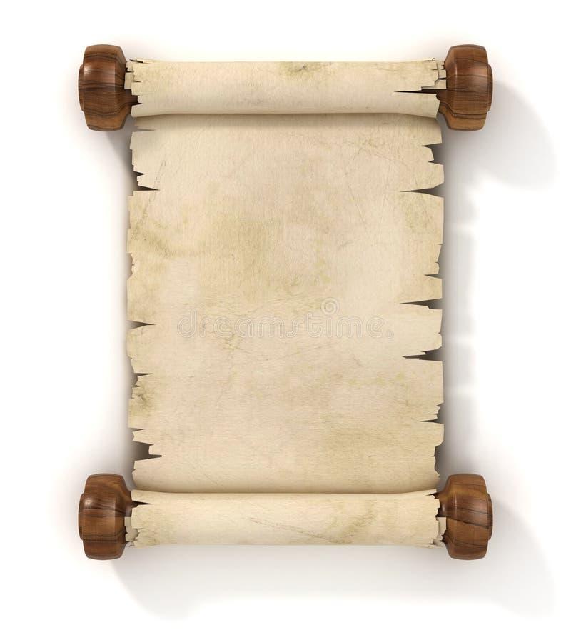 De rol 3d illustratie van het perkament stock illustratie