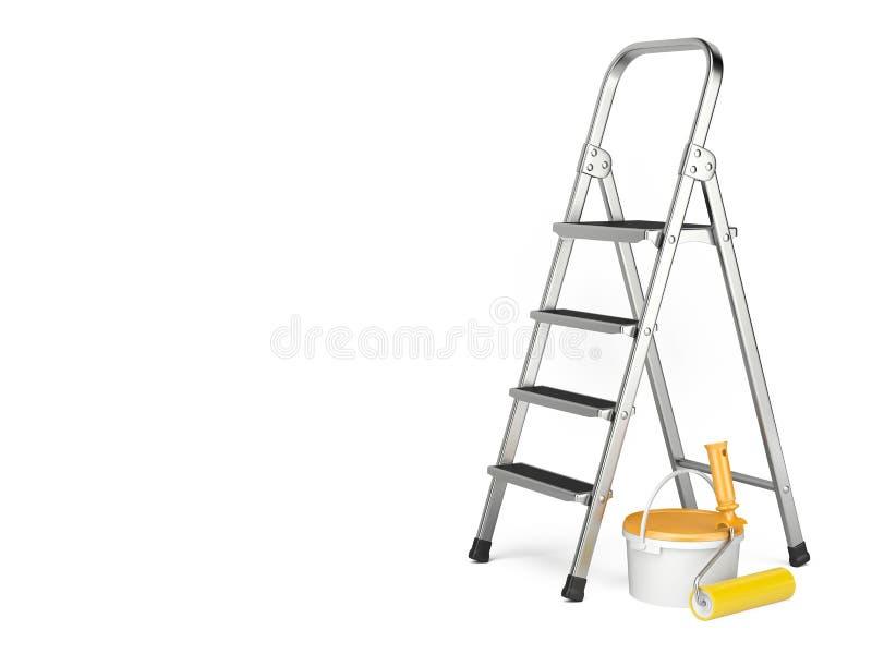 De Rol van de verf met verfsteekproeven De ladder, verf kan en rol schilderen stock illustratie