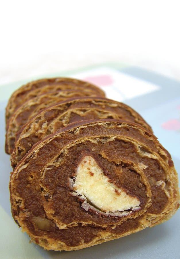 De rollade van de banaan, cake stock afbeelding