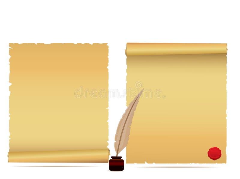De rollen en de ganzepen van het perkament vector illustratie