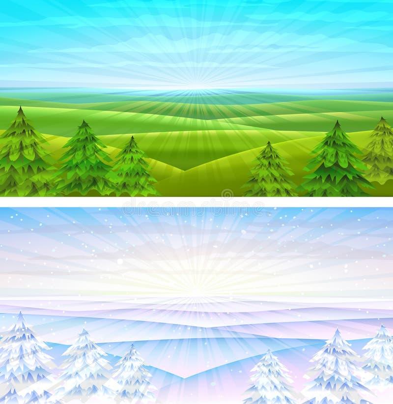 De rollende landschappen van de zomer en van de winter royalty-vrije illustratie