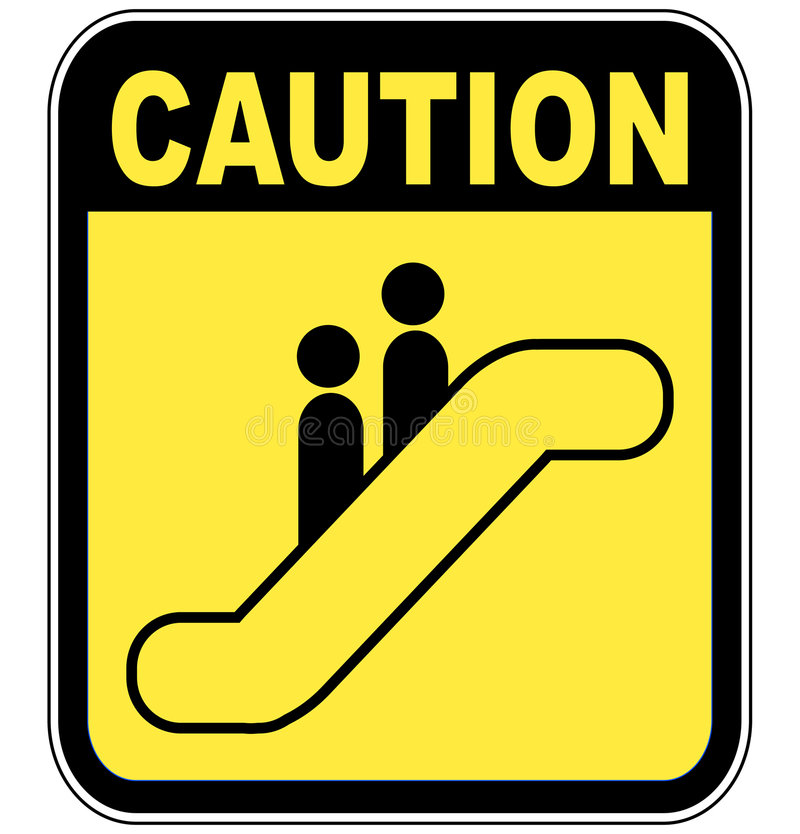 De roltrapteken van de voorzichtigheid stock illustratie
