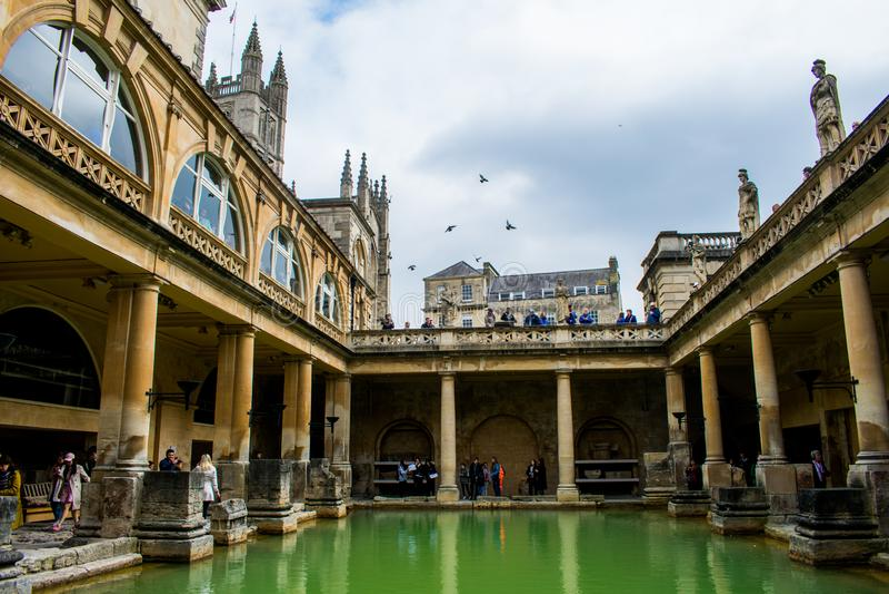 De roman baden i staden av badet royaltyfria bilder