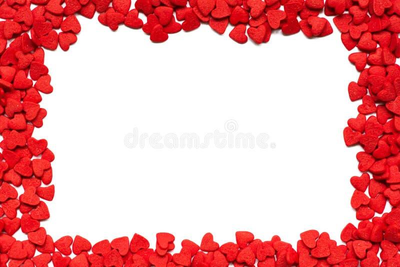 De romantische achtergrond van de Dag van valentijnskaarten Decoratieve suikergoedharten royalty-vrije stock foto's