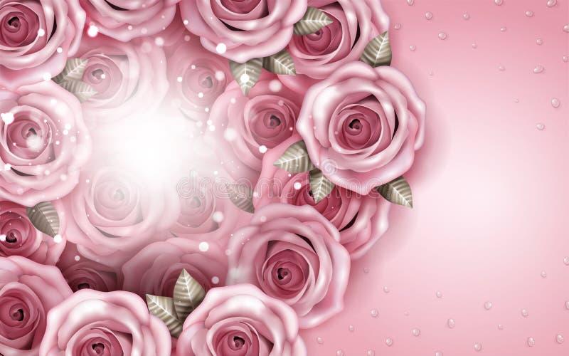 De romantische achtergrond van het rozenboeket vector illustratie