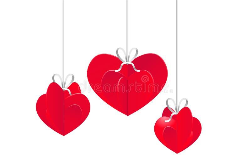 De romantische Gelukkige kaart van de Valentijnskaartendag Samenstelling van harten Klaar malplaatje voor uw ontwerp Vector illus vector illustratie